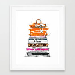 Birkin Bag and Fashion Books Framed Art Print
