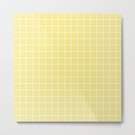 Flavescent[2] - beije color - White Lines Grid Pattern Metal Print