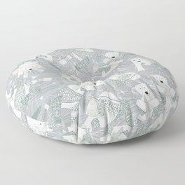 arctic polar bears silver Floor Pillow