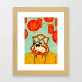 Chinese New Year Happy Year of the Dog pug celebration painting Framed Art Print