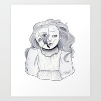 doll Art Prints featuring Doll by scoobtoobins