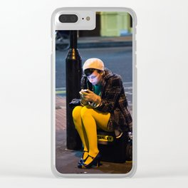Lady in Yellow - Brick Lane, London Clear iPhone Case
