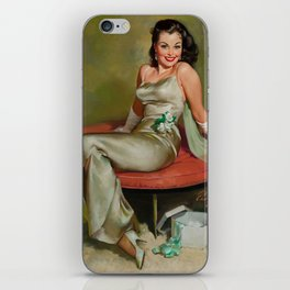 Pin Up Girl in Pretty Satin Dress iPhone Skin