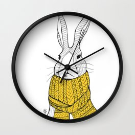 Rabbit in a yellow scarf Wall Clock