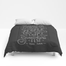 Mark Twain Quote (White text) Comforters