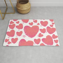 Pink Watercolor Heart Rug