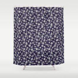 Festive Eclipse Blue and White Christmas Holiday Snowflakes Shower Curtain