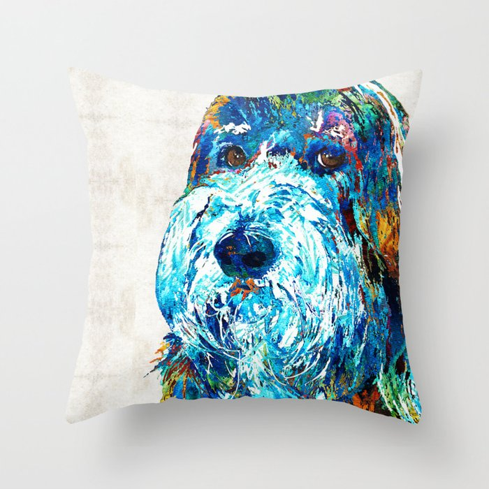 Bearded Collie Art 2 Dog Portrait By Sharon Cummings Throw Pillow By Sharoncummings Society6