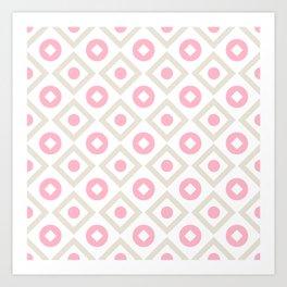 Pink pastel pattern of rhombuses and circles Art Print