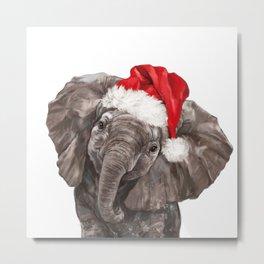 Christmas Baby Elephant Metal Print