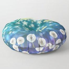 the moon, stars, luna moths, & dandelions Floor Pillow