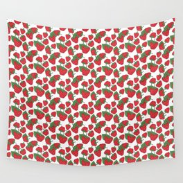 Strawberries - Summer Doodle Pattern Wall Tapestry