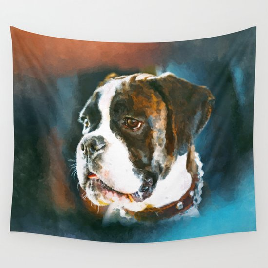 Boxer Dog Portrait Watercolor Digital Art Wall Tapestry by ...