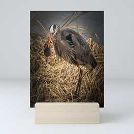 Heron and the mole Mini Art Print
