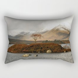 Lone Tree and Dusting of Snow in Mountains of Scotland Rectangular Pillow