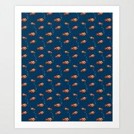 Clown fish illustration pattern Art Print