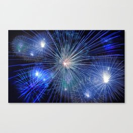 Bright Blue and White Fireworks Canvas Print