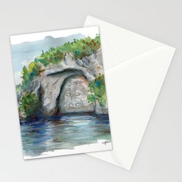 Maori carving on the lack Taupo, New Zealand Stationery Cards