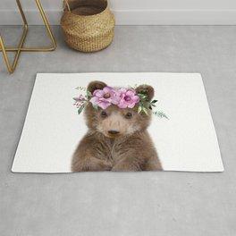 Baby Bear Cub with Flower Crown Rug
