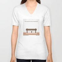 forrest gump V-neck T-shirts featuring No193 My Forrest Gump minimal movie poster by Chungkong