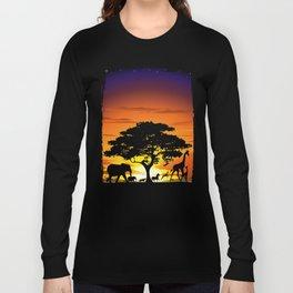 Wild Animals on African Savanna Sunset Long Sleeve T-shirt