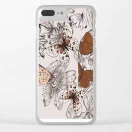 Victorian style classic pattern with butterflies and tropical flowers Clear iPhone Case
