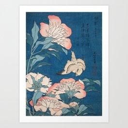 Katsushika Hokusai - Peonies and Canary, 1834 Art Print
