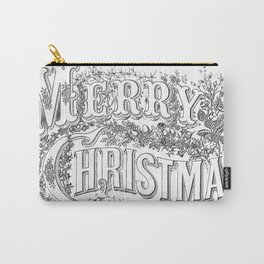 Vintage Merry Christmas Holiday Greeting (Black Text) Carry-All Pouch