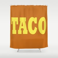 taco Shower Curtains featuring Taco by Book Ink Boutique
