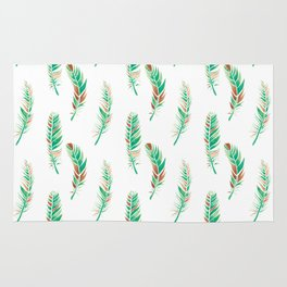 Watercolour Feathers - Greenery and Copper Rug