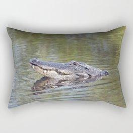 Large American alligator looking out of water in Florida lake Rectangular Pillow