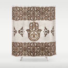 Hamsa Hand - Hand of Fatima  wooden texture Shower Curtain