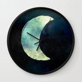 Iridescent Waning Crescent Moon Wall Clock