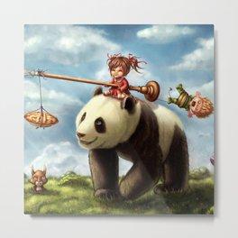 Panda Ride Metal Print