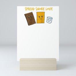 Spread Smore Love Funny Chocolate Marshmallow S'more Camping Raglan Baseball Tee Mini Art Print