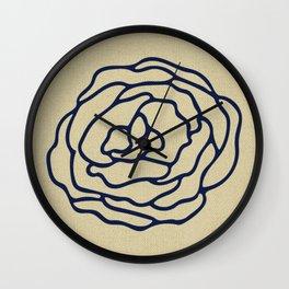 Rose Nautical Navy Blue on Linen Wall Clock