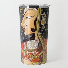 Bani Thani female portrait painting in traditional Rajasthani, the Mona Lisa of India  Travel Mug