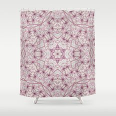 Vintage Raspberry Pink and Paris Gray Earth Mandala with Hearts Shower Curtain