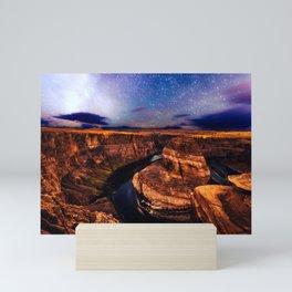 Horseshoe Bend Starseeds - Starry Sky Night at Grand Canyon Arizona Mini Art Print