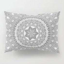 Black and White Feather Mandala Boho Hippie Pillow Sham