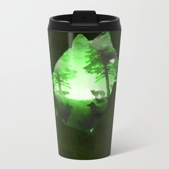 Green Wolf Metal Travel Mug