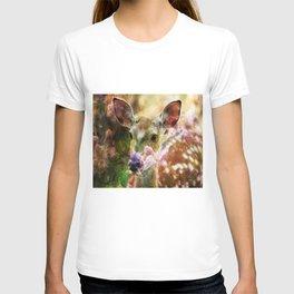Fawn Peeking Through The Lilac Bushes By Annie Zeno T-shirt