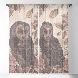 Tawny Owl Pink Sheer Curtain