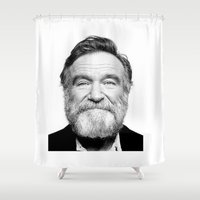 robin williams Shower Curtains featuring Rest In Peace Robin Williams by Luxe Glam Decor