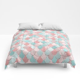 Mermaid Coral, Rose Gold, Pastel Pink, Aqua and Teal, Cute Colorful Pattern Comforters