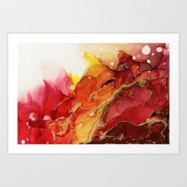 Golden Flame Abstract Ink - Part 1 Art Print