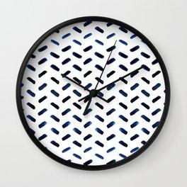 Blue Indigo Series - Stroke Pattern Wall Clock
