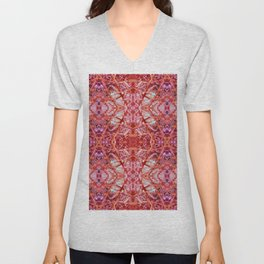 114- Large red and purple pattern Unisex V-Neck