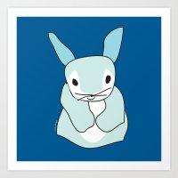 Blue Bunny Rabbit Art Print