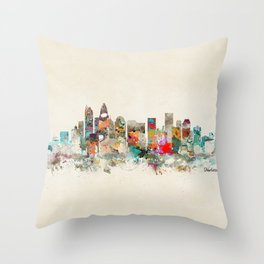 charlotte city north carolina Throw Pillow